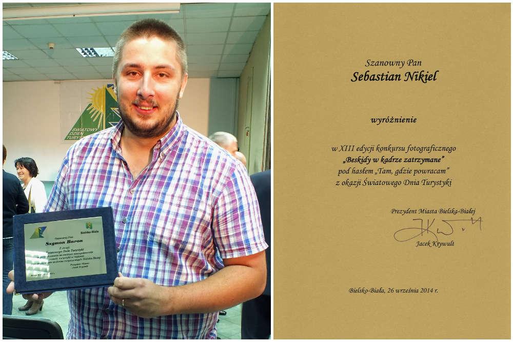 Szymon Baron z pamiątkowym grawertonem oraz dyplom dla Sebastiana Nikla